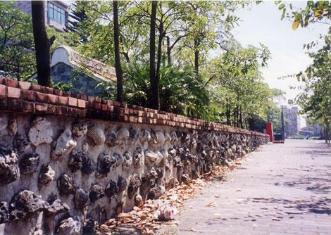 塀や壁の材料にサンゴを使ってます。