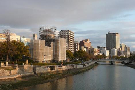 相生橋から見た原爆ドーム(健全度調査/工事中)
