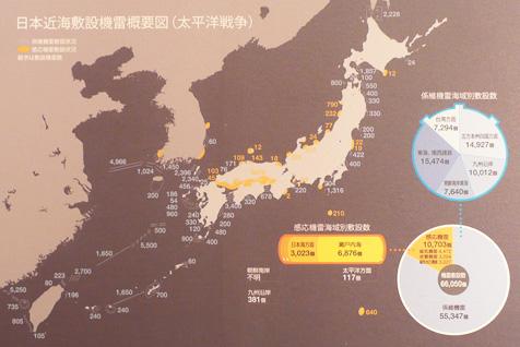 太平洋戦争時の日本近海敷設機雷概要図